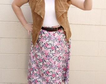 1990s Pink Floral Worthington Skirt - Size XL