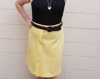 Linen Bright Yellow Plus Size Pencil Skirt - Size XL or XXl