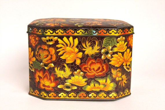 Floral Brown, Yellow, and Orange Tin - 1970s