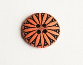 53 Vintage Round Pumpkin colored Plastic Buttons with Daisy Design  Item 0049