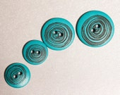 32 Vintage Round Turquoise Colored Hard Plastic Button Collection with Swirly Circle Design  Item 0018