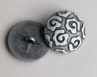 """10 Vintage 13/16"""" Metal Shank Buttons. Silver Tone Gunmetal. Great Abstract Floral Design. Vintage Metal Buttons. Solid Metal. Item 0341MA"""