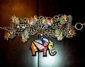 Britto Inspired Elephant, Hamsa & Sun Charm Bracelet