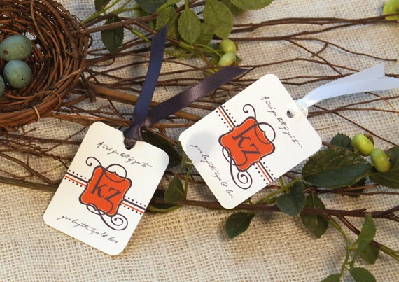 Personalized Wedding Wish Tag or Gift Tags - Monogram & Message (Set of 25)