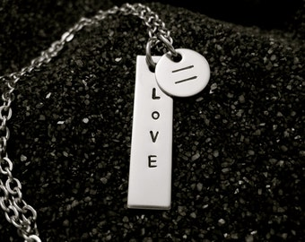 All LOVE is EQUAL stainless steel hand stamped necklace