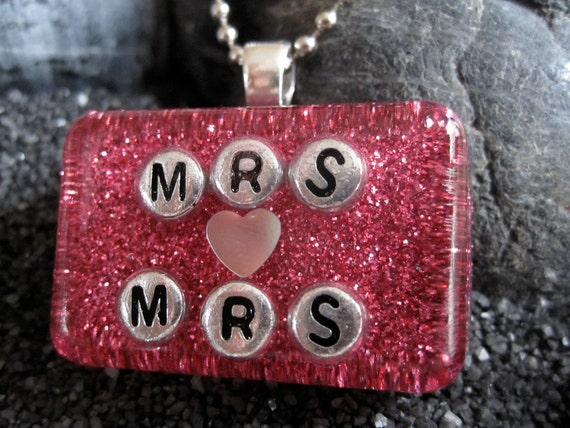 Celebrate Prop 8 ruling MRS AND MRS resin necklace