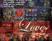 "LOVE: Inspirational Art on Archival Paper  8""x8"""