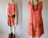 Vintage 80's sundress tunic boho coral embroidered tropical painted scene Summer XS S extra small / small