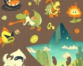 mario enemies cute illustration allies power star landscape retro vintage print poster