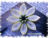 Kanzashi Flower Yellow Satin with White Organza Flower Hair accessory