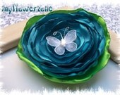 Satin Flower Singed Layered Turquoise Rose with white nylon butterfly ,  Fabric Flower Rosettes Hair Accessory Embellishments