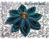 Kanzashi Flower Teal Satin and Organza Fabric Flower Hair accessory in blue