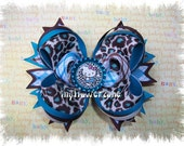 Boutique Stacked Hair Bows - Hair Bow Cheetah - Boutique Hair Bows - Layered Hairbows Blue Cheetah - OTT - Boutique Hairbows - Blue Cheetah