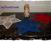 Patriotic Doilies Crochet Set of 3 Stars UNIQUE - Doillies Crochet Set of 3 Patriotic Stars - Doily Centerpiece NEW - White Red Blue Doilies