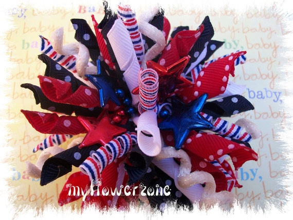 Patriotic Korker Hair Bows - Korker Hairbows - Dots & Stripes Blue Red and White with Stars Korker hairbow - Hair accessories