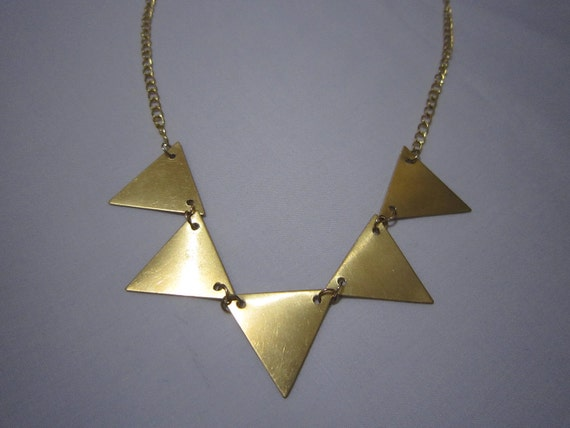 Five Triangles Brass Gold Necklace