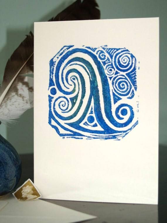 """Hand printed """"Ocean Wave"""" card"""