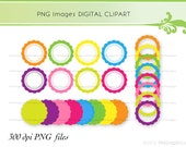 24 Round Labels and Frames Digital Clip Art PNG Images