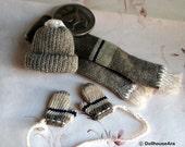 Beanies set (No.4) Knit hats, Scarf, Cute Wool glove mittens- Dollhouse Miniatures 1/12
