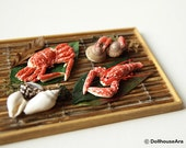 SEAFOOD decor set Lobster, shrimp, crab- handmade Dollhouse Miniatures 1/12