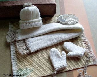 Beanies set (No.7) Knit hats, Scarf, Cute Wool glove mittens- Dollhouse Miniatures 1/12