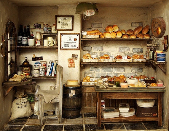 The Bakery -Vintage Country small bread shop-handmade Dollhouse Miniatures