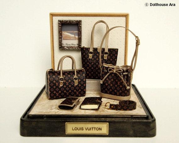 LV (No.5) Ooak Designer Handbags Purse decorating display sets -Dollhouse Miniatures 1/12
