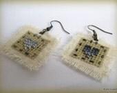Grey heart cross stitch  earrings