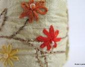 Textile cuff - Embroidered silk cuff - ON SALE