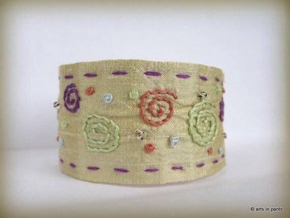Swirls one of a kind silk hand embroidered cuff