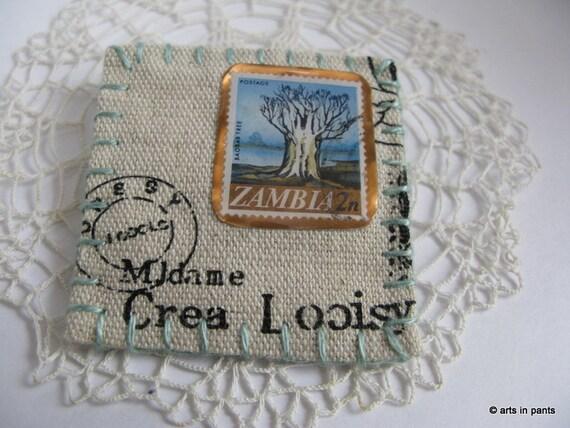 Baobab tree resin postage stamp brooch