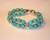 Natural Turquoise Bracelet with Silver Metal Clasp - Beaded Bracelet