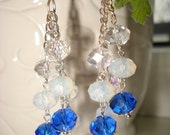 Silver Chain Earrings Moonstone and Crystal Swarovski.