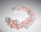 Bracelet - Bride / Pink and White Glass Pearls,  Pink and Clear Crystals /  Antique Silver Metal Clasp, Under 20,  Summer Accessories