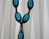 Fancy teal and copper bead necklace - FREE SHIPPING (KN10)
