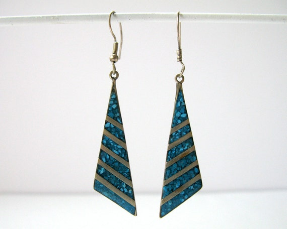 Vintage Mexican Alpaca and Crushed Turquoise Pierced Earrings / Triangles / Dangle - NEW PRICE