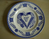 Vintage blue and white folksy print plate set // set of 2 // made in Mexico