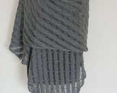 Scarf Gray Grey Merino Silk Shawl Hand Knitted. MADE TO ORDER.