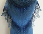 Hand Knitted Blue Lace Triangle Shawl Shawlette. Blue Navy Denim. Estonian Wool Kauni. READY TO SHIP. Free Shipping.