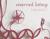 Reserved for Geoff Oberhofer - Tree of Life Ketubah