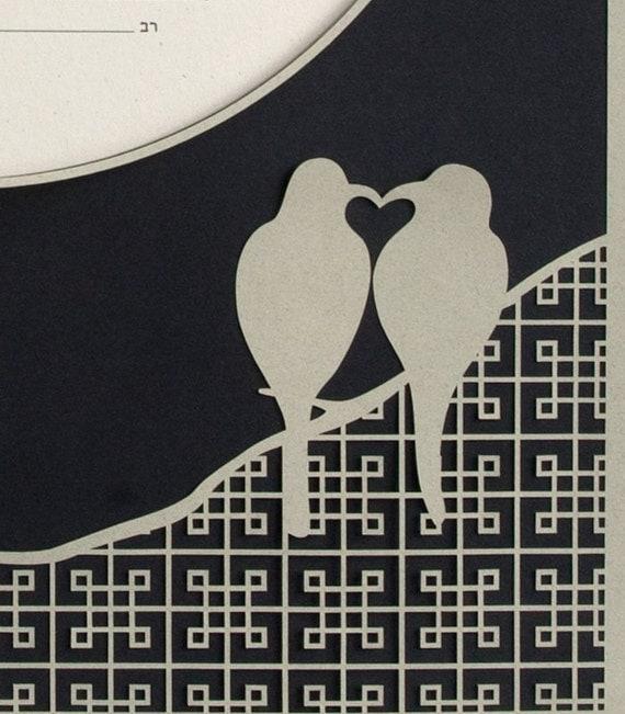 Eco-conscious Papercut Ketubah - True Love Birds / Moon - Sage / Black