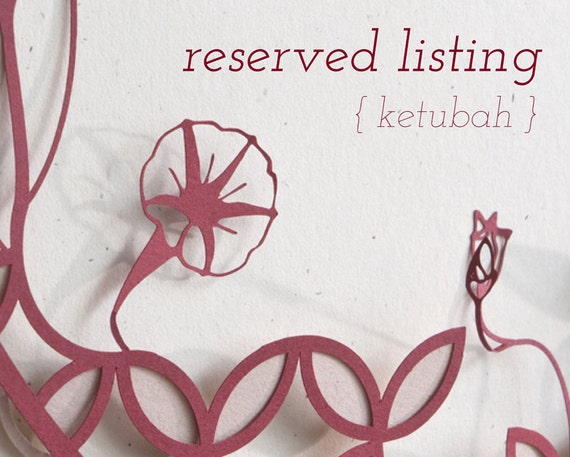 Reserved for Amy Campbell - True Love Birds Ketubah