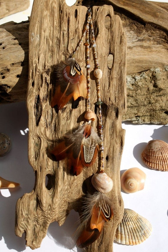 Free Shipping-Feather Extension Clip with Czech Glass Beaded Strands and Shell Accents- Air and Sea