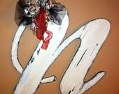 Wooden Letter N  Stressed and Crackled Door hanger Astoria Font