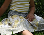 Little Girl's skirt in gray/butter yellow or gray/pink damask sizes 3-6 months - 4T