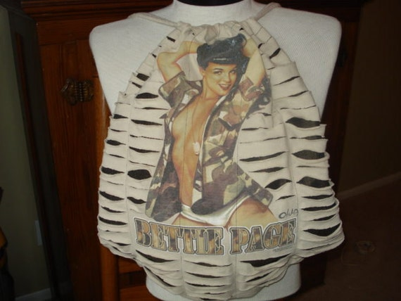 Bettie Page Recycled/Upcycled Tshirt Back Pack Bag