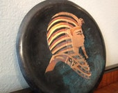 vintage copper plate with hand painted pharaoh
