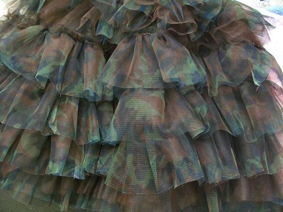 Girls Camo Ruffled Pettiskirt - Tutu Skirt - Greens and Browns Woodland Camouflage