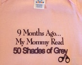 Pink 9 Months Ago My Mommy Read 50 Shades of Grey Onesie (MADE TO ORDER) Can also be done in white for boys