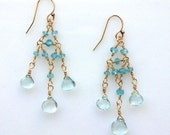 delicate hand-wired chandelier earrings with blue topaz briolettes and apatite rondelles